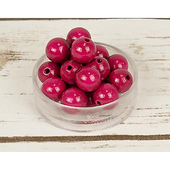 14mm Bright Pink Wooden Threading Beads - 18pk