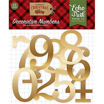 صدى بارك احتفال عيد الميلاد أرقام رقائق الذهب الزخرفية