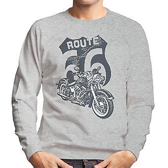 Route 66 Retro Road Map Shield Men's Sweatshirt