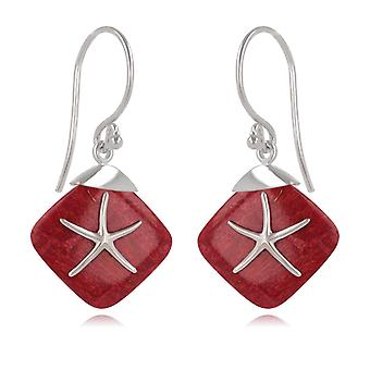 ADEN 925 Sterling Silver Coral Starfish Earrings (id 4224)