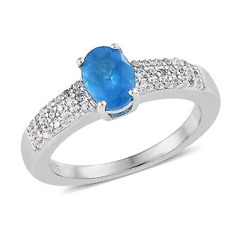 Solitaire with accent Neon Apatite Ring Sterling Silver Platinum Plated TJC