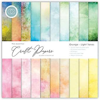 Craft Consortium Essensielle craft papers 6X6 tommers papir pad Grunge lystoner