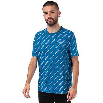 Menn&s Lacoste Signatur Print T-skjorte i blått