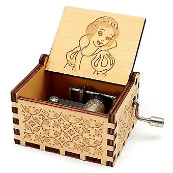 Snow White And The Seven Dwarfs Music Box 'Someday My Prince Will Come' Theme Wooden Engraved Handmade Vintage Music Box