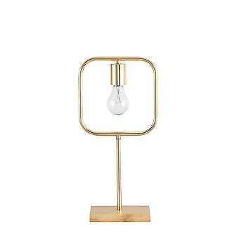 Gouden Metalen Tafel / Bureaulamp w/ Houten basis