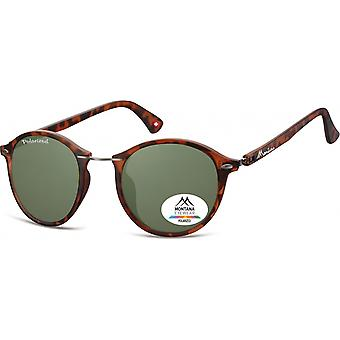 Sunglasses Unisex Panto Flamed Brown/Green (MP22)