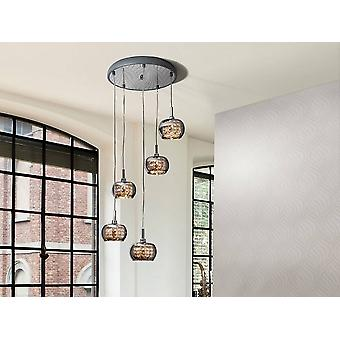 5 Light Dimmable Spiral Crystal Ceiling Cluster Pendant Remote Control Chrome, G9