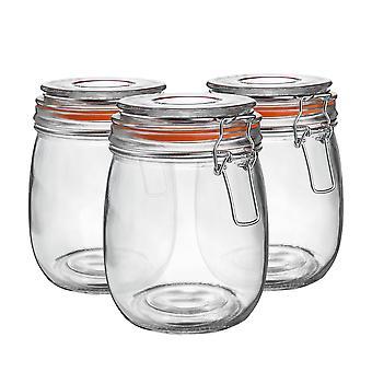 Argon Stolové sklenené úložné poháre s vzduchotesným vekom - 750ml Set - Oranžové tesnenie - Balenie 6