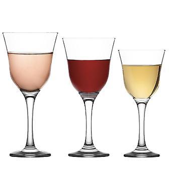 LAV Vals Copas de Vino - Blanco, Rosa, Rojo - 250ml, 295ml, 370ml - Cristalería Vintage - Set de 18