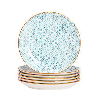 Nicola Spring 6 Piece Hand-Printed Dinner Plate Set - Japanese Style Porcelain Dining Plates - Blue - 25.5cm