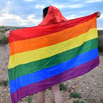 TRIXES Rainbow Flag Cape Hooded Cape -LGBTQA+ Festivals Accessories - Carnivals -One Size - Unisex