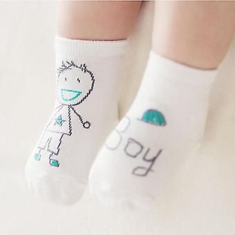 Vauvan kevään syksyn sukat, vastasyntynyt vauva puuvilla söpö epäsymmetria anti-slip sukat