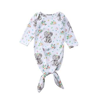 Baby Long Sleeve Elephant Print Floral Swaddle Wrap Utilaje