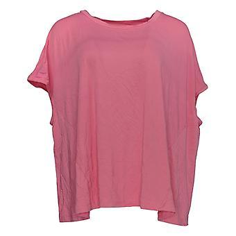 Laurie Felt Women's Top Knit Tee W/Asymmetric Hem Pink A352575