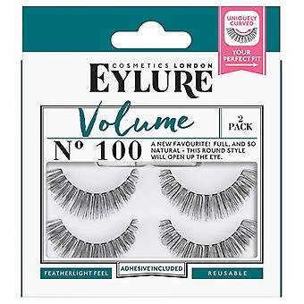 Eylure Volume Strip Lashes - No 100 - Round Style and Tapered Length - Twin Pack