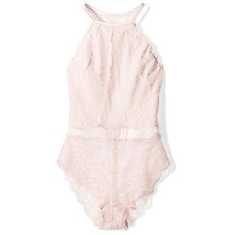Brand - Mae Women's Strappy Halter Lace Bodysuit, Soft Pink, Medium