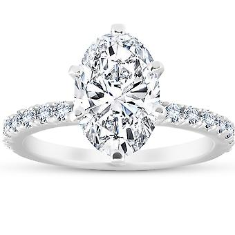 3 Ct Oval Diamond Engagement Ring (2 1/2ct center) 14k White Gold