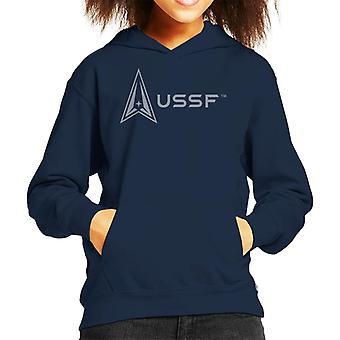U.S. Space Force Logo Alongside USSF Text Kid's Hooded Sweatshirt