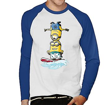 Despicable Me Minions Head Surfing Men's Baseball Long Sleeved T-Shirt