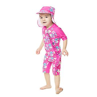 Bonverano Baby Girls One Piece Sun Protection Short Sleeves Zipper Sunsuit