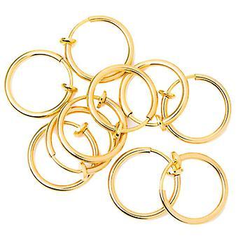 أقراط وهمية الأنف الأنف الأنف الأنف الحاجب غير ثقب الحلقات - 10 حزمة - الذهب i.p.