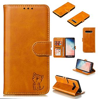Leather Protective Case For Galaxy S10 Plus(Yellow)