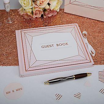Blush Pink Wedding Guest Book   Geo Floral Party Keepsake Album Gift