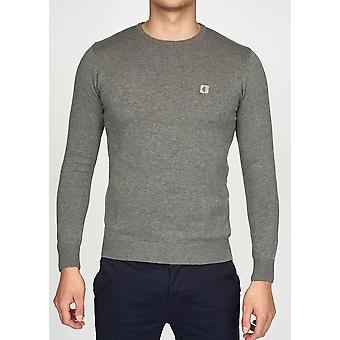Cole Grey Knitted Crew-Neck Jumper