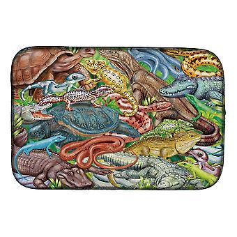 Schalen en staarten, slangen, schildpad, reptielen schotel drogen mat