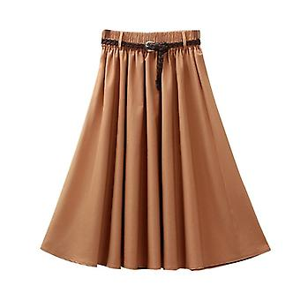 Retro Summer Women Elastic High Waist Skirts With Belt Casual Fashion Solid