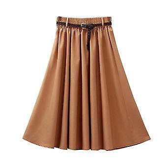 רטרו קיץ נשים אלסטי מותניים גבוהים חצאיות עם חגורה מזדמנת אופנה אחיד