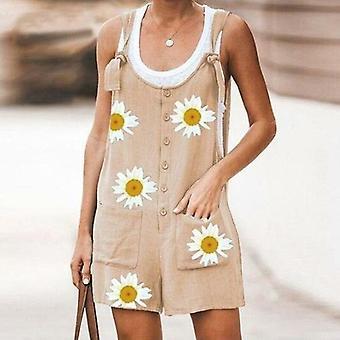Daisy Print Jumpsuit Women Summer V-neck Button Cotton Linen Playsuit
