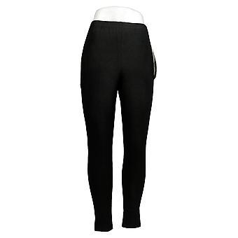 النساء مع التحكم Leggings العادية تناسب سحب على متماسكة طماق الأسود A235949
