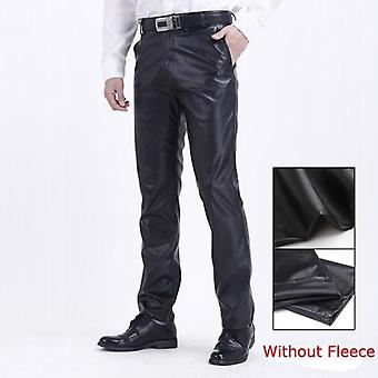 Summer Men Leather Pants Working Elastic Lightweight Smart Casual Trousers