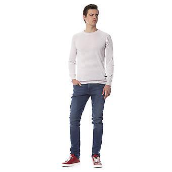 Trussardi Jeans Porcelain White Stripe Sweater
