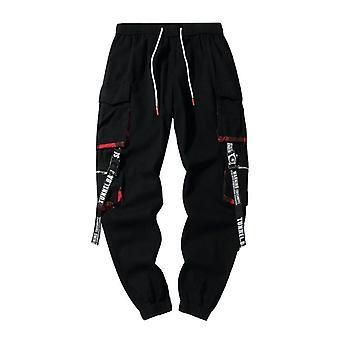 Čierne hip hop nákladné nohavice, pánske streetwear bavlnené športové nohavice módne tepláky,