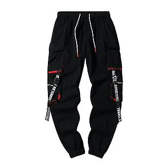 Black Hip Hop Cargo Pants, Men Streetwear Cotton Joggers Fashion Sweatpants,