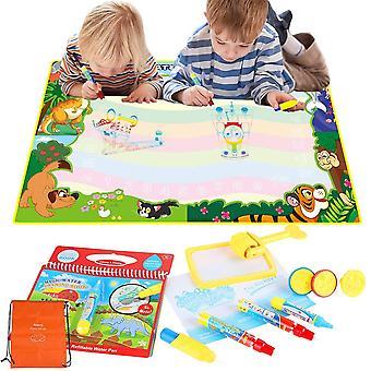 Anpro Wasser Zeichnung Matte 90 * 120cm - Wasser-Doodle-Matte mit 3 Stifte 3 Briefmarken, 1 Pinsel, 1 Zeichenbuch
