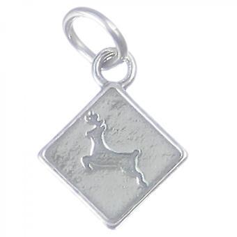 Deer Crossing Sign Sterling Silver Charm .925 X 1 Deers Warnings Charms - 3922