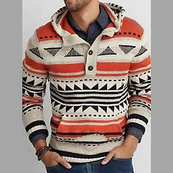 Winter Casual Pullover, Männer Print Cardigan warm Jacke Mantel