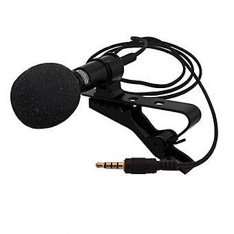 Microfono a clip con risvolto cablato esterno portatile da 3,5 mm (nero)