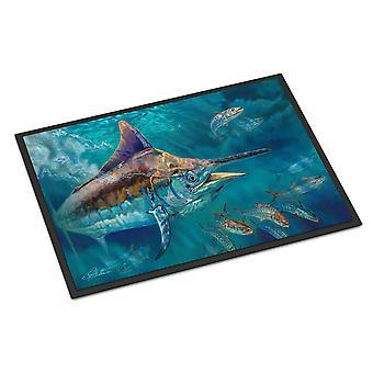 Caroline's Treasures Liquid Metal Black Marlin Tappetino interno o esterno 18x27 zerbini, Multicolor