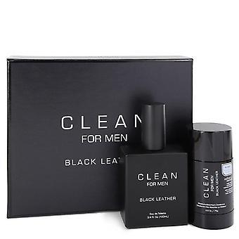 Clean Black Leather Gift Set By Clean 3.4 oz Eau De Toilette Spray - 2,6 oz Déodorant Stick