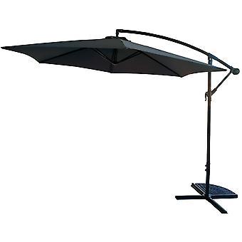 Paraguas de jardín 300 cm gris plegable - con torcedura