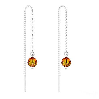 Fire opal silver chain earrings with swarovski crystal