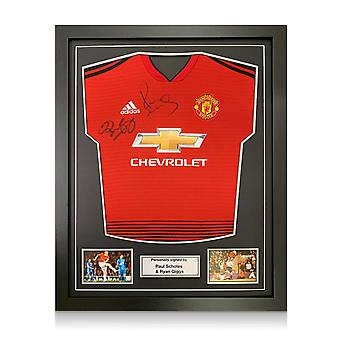 Paul Scholes and Ryan Giggs Signed Manchester United Shirt. Framed