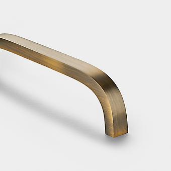 Brass Bar Handle - Antique Gold - Hole Centre 128mm - Curve