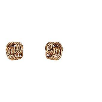 9ct geelgouden diamant geslepen knoop stud oorbellen