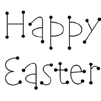 Dot Happy Easter Legno Montato Timbro