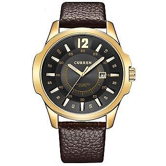 CURREN 8123 Sports Quartz Watch for Men(gold case black face)